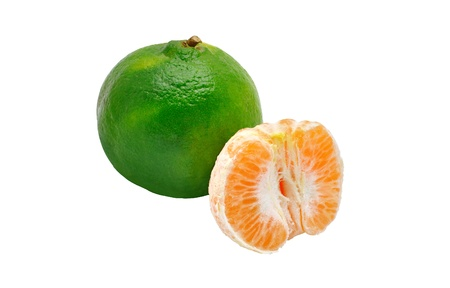 two green tangerines isolated on white background Stock Photo - 13434383