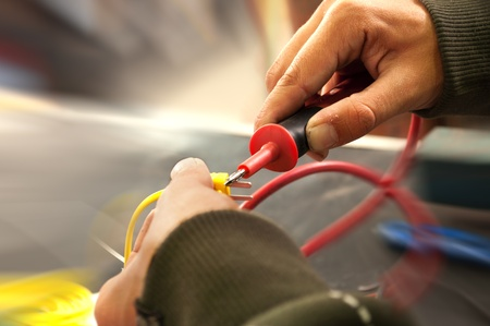 electric current: Hands metter a electric current
