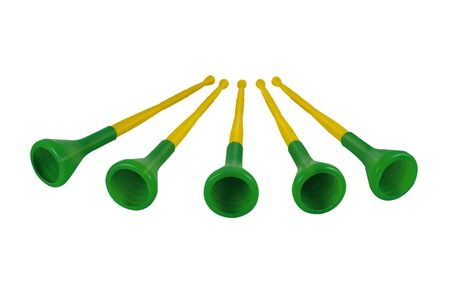 Five  5  Vuvuzelas traditional plastic trumpets Stock Photo