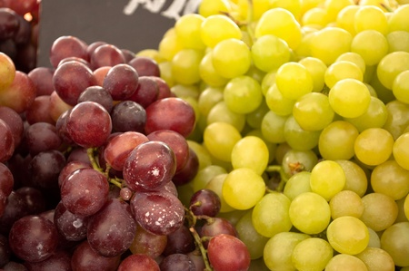 Close of Grapes green and purple photo