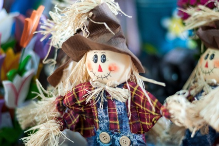 Funny hand made scarecrow dolls on the market  Brazil Stock Photo