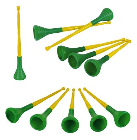 Pretty collection of brazilian vuvuzelas, traditional plastic trumpets Stock Photo