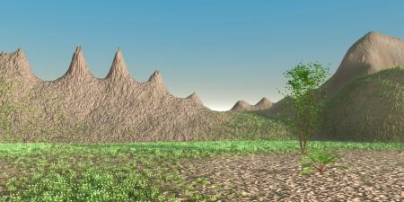 Virtual landscape. 3D rendered illustration.