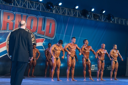 Shot made on 04262013 on competitors on Amateur Men's  Bodybuilding on Arnold Classic Brasil 2013 realized on Rio de Janeiro  Brazil.