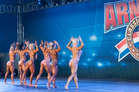 Shot made on 04262013 on competitors on Amateur Women�s Bodybuilding on Arnold Classic Brasil 2013 realized on Rio de Janeiro  Brazil.
