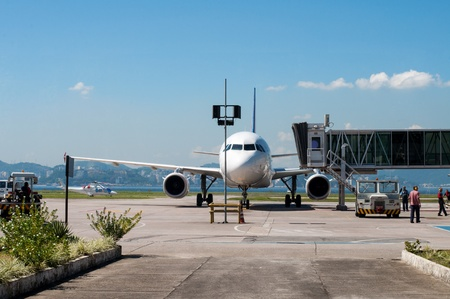 Rio de Janeiro, Brazil - April 26, 2013 - Airplane parked on brazilian Santos Dumont airport Editorial