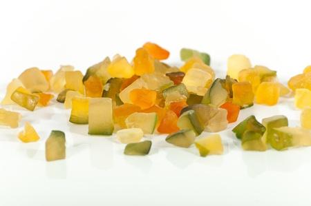 Crystallized fruits on white background Stock Photo