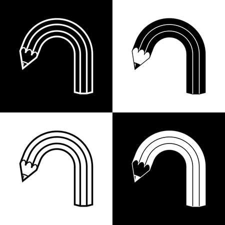 曲がった鉛筆の 4 つの黒と白のアイコン