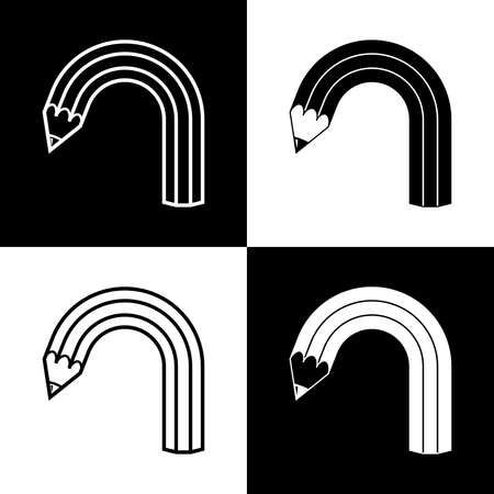 4 black and white icons of bent pencil Çizim