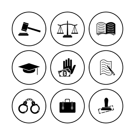 law justice icons set Фото со стока - 105724926