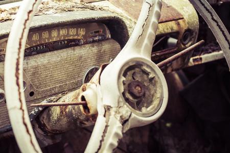 wreckage: vintage car wreckage Stock Photo