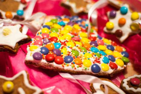 Detail of Christmas holiday heart shape M M s like cookies photo
