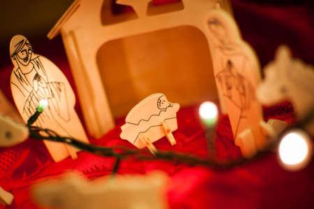 Wooden baby Jesus Christ nativity scene photo