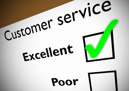 Customer service feedback form with green tick on Excellent. Stock Photo - 342742
