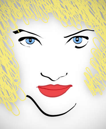 bimbo: Illustration of stylized blue-eyed blonde with red-hot lips