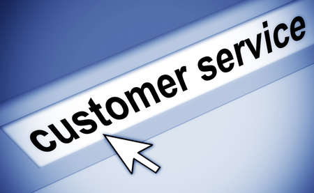 address bar: Graphic of address bar on computer with cursor arrow, pointing to customer service Stock Photo
