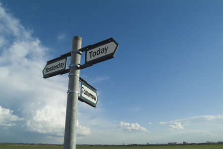 tomorrow: Three-way sign pointing to yesterday, today and tomorrow