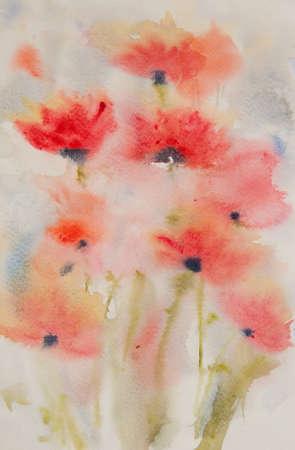 painting and stylized: Stylized poppy flowers painting in poppy field, watercolor painting