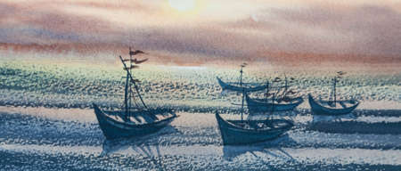 fishing boats: Sea and fishing boats at twilight time, watercolor painting