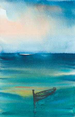 Single boat with blue sea and sunset sky, watercolor painting