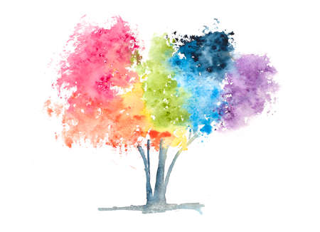 seasons of the year: Rainbow tree on white, watercolor painting Stock Photo