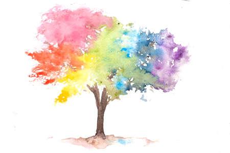 albero arcobaleno su bianco, pittura ad acquerello