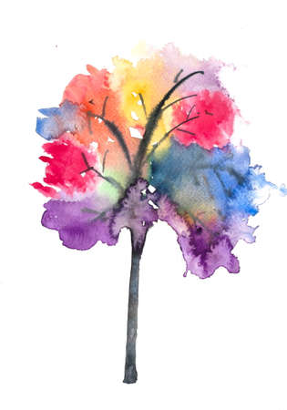 tree: Abstract colorful tree on white, watercolor painting Stock Photo