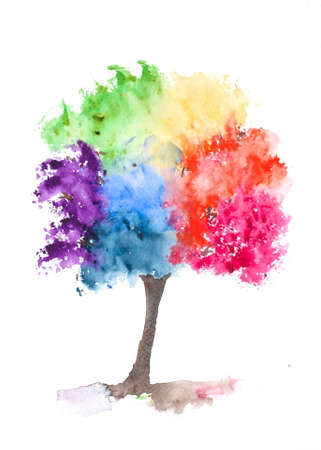 Rainbow tree, watercolor painting