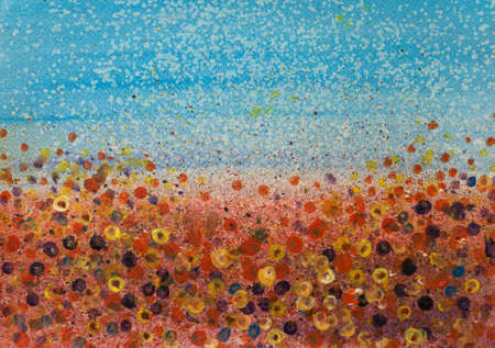 Acrylic painting colorful wildflower field, landscape painting, hand painted, impressionism style
