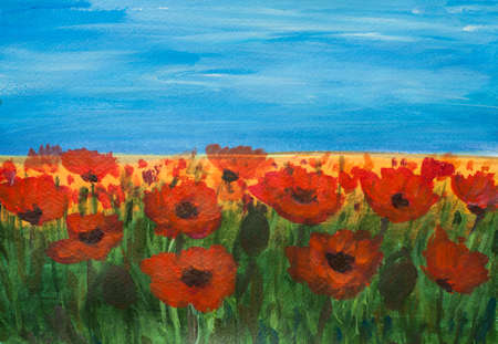 poppy field: Acrylic painting of red poppy field with blue sky, landscape painting, hand painted, impressionism style