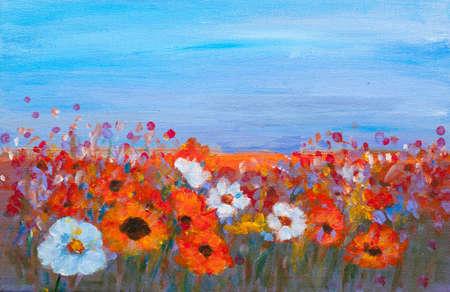 Het acryl schilderen van kleurrijke wilde bloemen veld met blauwe hemel, rood, geel, oranje, wit, paarse bloem, met de hand geschilderd, impressionistische stijl