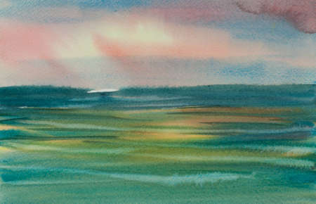 Beautiful sea with sunset sky, watercolor painting in impressionist style