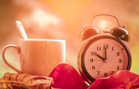 Coffee cup and alarm clock with natural background, Start up concept Stock Photo
