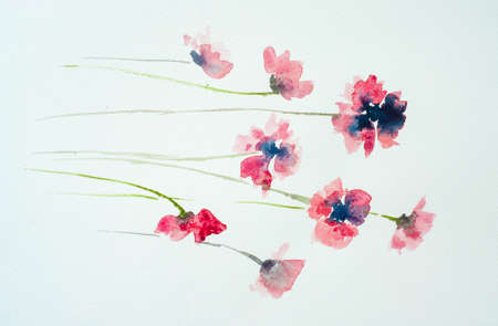 impression: Pink poppy flowers watercolor hand painted on paper