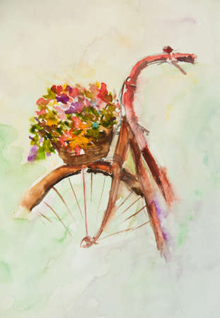 Rฺed bicycle with flowers ,watercolor painting in impressionism style Stock Photo