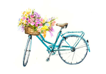 Retro blue bicycle with flowers in basket on white background, watercolor hand drawn on paper