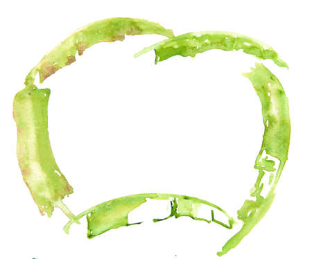 Frame of banana leaves on white background, watercolor painting Stock Photo