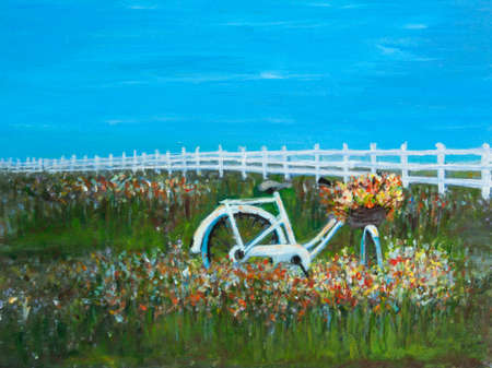 Beautiful landscape of white bicycle with flowers in wildflower field against blue sky and white picket, acrylic color painting