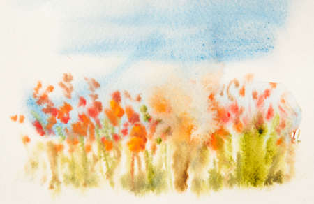Landscape of poppy field, watercolor painting in impressionism style