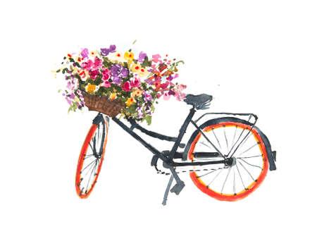 ホワイト バック グラウンド、自転車アート、水彩画イラストレーターの花と黒レトロな自転車、家を飾る