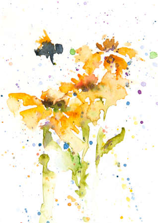 Yellow flowers and bee on white background, watercolor painting , home decorate Stock Photo