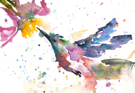 Hummingbird and flower , watercolor painting in impressionism style, home decorate Reklamní fotografie
