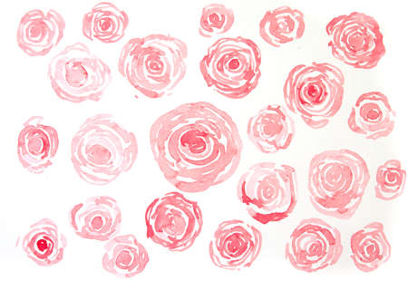 floral: Red roses background texture, watercolor hand painted on paper