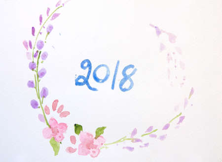 happy new year card watercolor illustrator stock photo 91800946