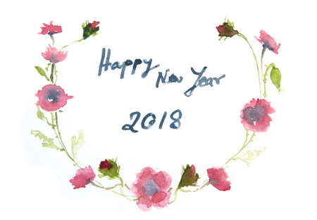 happy new year card watercolor illustrator stock photo picture and royalty free image image 91800950