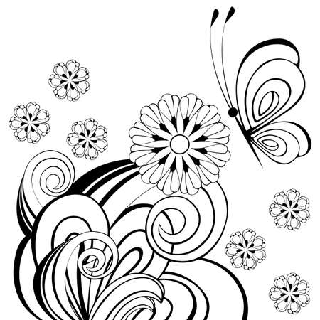 Zwart-witte vlindersillustratie.