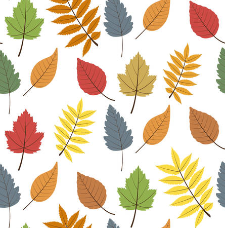 Seamless  pattern with color autumn  leaves Vettoriali