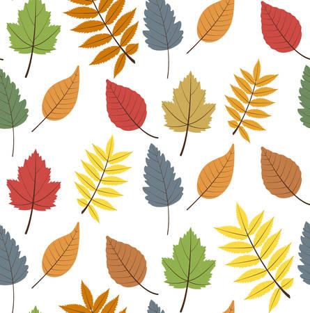 Seamless  pattern with color autumn  leaves Illusztráció