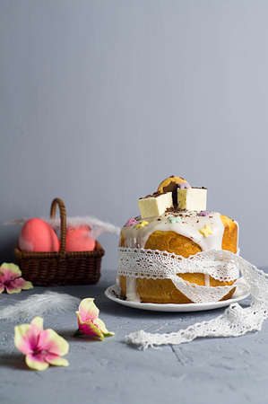Easter cake on a wooden background