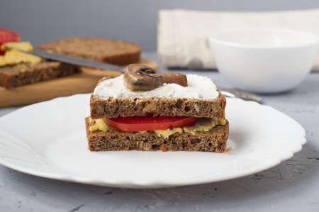 Vegetarian tomato and mushroom Burger with hummus paste. Healthy food, snack. Фото со стока